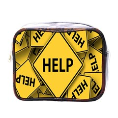 Caution Road Sign Help Cross Yellow Mini Toiletries Bags by Alisyart