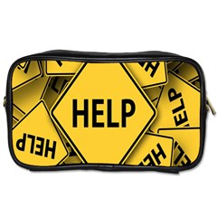 Caution Road Sign Help Cross Yellow Toiletries Bags by Alisyart
