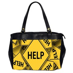 Caution Road Sign Help Cross Yellow Office Handbags (2 Sides)  by Alisyart
