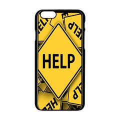 Caution Road Sign Help Cross Yellow Apple Iphone 6/6s Black Enamel Case by Alisyart