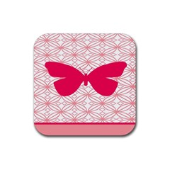 Butterfly Animals Pink Plaid Triangle Circle Flower Rubber Square Coaster (4 Pack)  by Alisyart