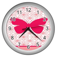 Butterfly Animals Pink Plaid Triangle Circle Flower Wall Clocks (silver)  by Alisyart