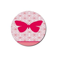 Butterfly Animals Pink Plaid Triangle Circle Flower Rubber Round Coaster (4 Pack)  by Alisyart