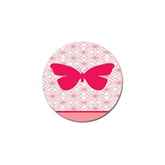 Butterfly Animals Pink Plaid Triangle Circle Flower Golf Ball Marker (4 Pack) by Alisyart