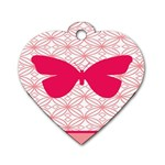 Butterfly Animals Pink Plaid Triangle Circle Flower Dog Tag Heart (Two Sides) Front