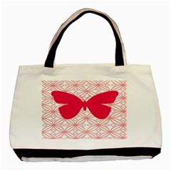 Butterfly Animals Pink Plaid Triangle Circle Flower Basic Tote Bag (two Sides) by Alisyart