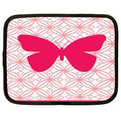 Butterfly Animals Pink Plaid Triangle Circle Flower Netbook Case (xxl)  by Alisyart