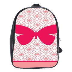 Butterfly Animals Pink Plaid Triangle Circle Flower School Bags(large)  by Alisyart