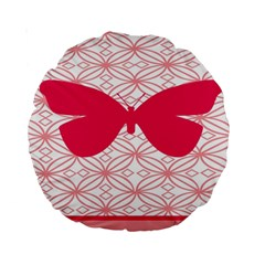 Butterfly Animals Pink Plaid Triangle Circle Flower Standard 15  Premium Round Cushions by Alisyart