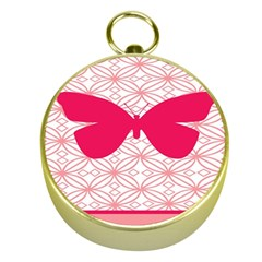 Butterfly Animals Pink Plaid Triangle Circle Flower Gold Compasses by Alisyart