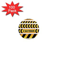 Caution Road Sign Warning Cross Danger Yellow Chevron Line Black 1  Mini Magnets (100 Pack)  by Alisyart