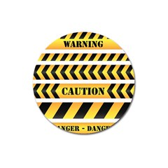 Caution Road Sign Warning Cross Danger Yellow Chevron Line Black Magnet 3  (round) by Alisyart