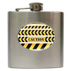 Caution Road Sign Warning Cross Danger Yellow Chevron Line Black Hip Flask (6 Oz) by Alisyart