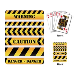 Caution Road Sign Warning Cross Danger Yellow Chevron Line Black Playing Card by Alisyart