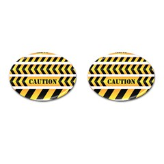 Caution Road Sign Warning Cross Danger Yellow Chevron Line Black Cufflinks (oval) by Alisyart