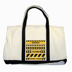 Caution Road Sign Warning Cross Danger Yellow Chevron Line Black Two Tone Tote Bag by Alisyart