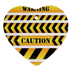 Caution Road Sign Warning Cross Danger Yellow Chevron Line Black Heart Ornament (two Sides) by Alisyart