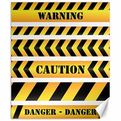 Caution Road Sign Warning Cross Danger Yellow Chevron Line Black Canvas 20  X 24   by Alisyart