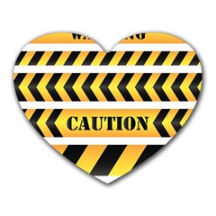 Caution Road Sign Warning Cross Danger Yellow Chevron Line Black Heart Mousepads by Alisyart