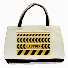 Caution Road Sign Warning Cross Danger Yellow Chevron Line Black Basic Tote Bag (two Sides) by Alisyart