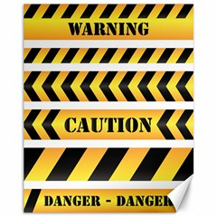 Caution Road Sign Warning Cross Danger Yellow Chevron Line Black Canvas 11  X 14   by Alisyart