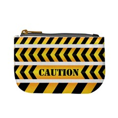 Caution Road Sign Warning Cross Danger Yellow Chevron Line Black Mini Coin Purses by Alisyart