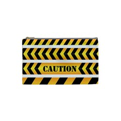 Caution Road Sign Warning Cross Danger Yellow Chevron Line Black Cosmetic Bag (small)  by Alisyart