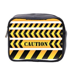 Caution Road Sign Warning Cross Danger Yellow Chevron Line Black Mini Toiletries Bag 2 Side by Alisyart