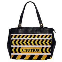 Caution Road Sign Warning Cross Danger Yellow Chevron Line Black Office Handbags by Alisyart