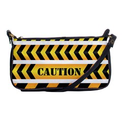 Caution Road Sign Warning Cross Danger Yellow Chevron Line Black Shoulder Clutch Bags by Alisyart
