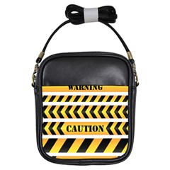 Caution Road Sign Warning Cross Danger Yellow Chevron Line Black Girls Sling Bags by Alisyart