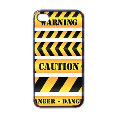 Caution Road Sign Warning Cross Danger Yellow Chevron Line Black Apple Iphone 4 Case (black) by Alisyart