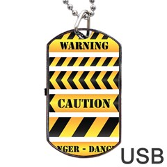 Caution Road Sign Warning Cross Danger Yellow Chevron Line Black Dog Tag Usb Flash (two Sides) by Alisyart
