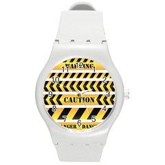 Caution Road Sign Warning Cross Danger Yellow Chevron Line Black Round Plastic Sport Watch (m) by Alisyart