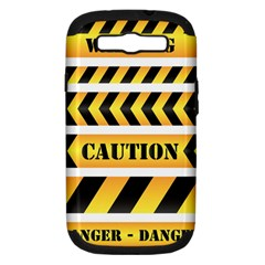 Caution Road Sign Warning Cross Danger Yellow Chevron Line Black Samsung Galaxy S Iii Hardshell Case (pc+silicone) by Alisyart