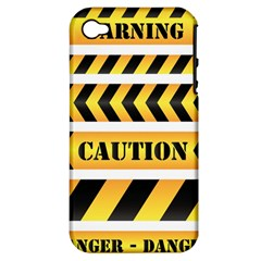 Caution Road Sign Warning Cross Danger Yellow Chevron Line Black Apple Iphone 4/4s Hardshell Case (pc+silicone) by Alisyart