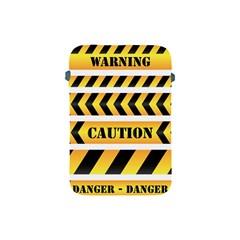 Caution Road Sign Warning Cross Danger Yellow Chevron Line Black Apple Ipad Mini Protective Soft Cases by Alisyart