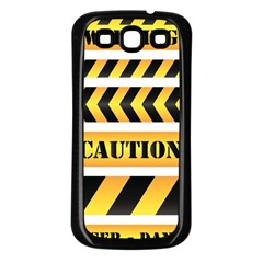 Caution Road Sign Warning Cross Danger Yellow Chevron Line Black Samsung Galaxy S3 Back Case (black) by Alisyart