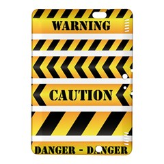 Caution Road Sign Warning Cross Danger Yellow Chevron Line Black Kindle Fire Hdx 8 9  Hardshell Case by Alisyart
