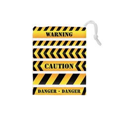 Caution Road Sign Warning Cross Danger Yellow Chevron Line Black Drawstring Pouches (small)  by Alisyart