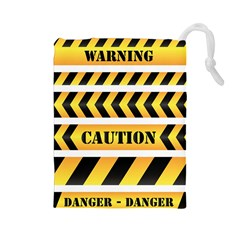 Caution Road Sign Warning Cross Danger Yellow Chevron Line Black Drawstring Pouches (large)  by Alisyart