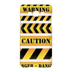 Caution Road Sign Warning Cross Danger Yellow Chevron Line Black Samsung Galaxy A5 Hardshell Case  by Alisyart