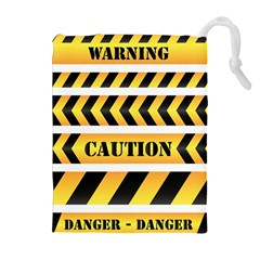 Caution Road Sign Warning Cross Danger Yellow Chevron Line Black Drawstring Pouches (extra Large) by Alisyart