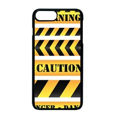 Caution Road Sign Warning Cross Danger Yellow Chevron Line Black Apple Iphone 7 Plus Seamless Case (black) by Alisyart