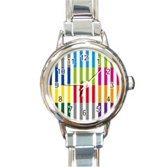 Color Bars Rainbow Green Blue Grey Red Pink Orange Yellow White Line Vertical Round Italian Charm Watch by Alisyart