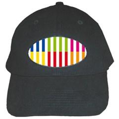 Color Bars Rainbow Green Blue Grey Red Pink Orange Yellow White Line Vertical Black Cap by Alisyart
