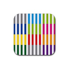Color Bars Rainbow Green Blue Grey Red Pink Orange Yellow White Line Vertical Rubber Coaster (square)  by Alisyart