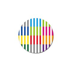 Color Bars Rainbow Green Blue Grey Red Pink Orange Yellow White Line Vertical Golf Ball Marker by Alisyart