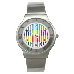 Color Bars Rainbow Green Blue Grey Red Pink Orange Yellow White Line Vertical Stainless Steel Watch by Alisyart
