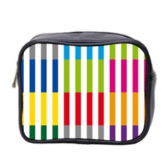 Color Bars Rainbow Green Blue Grey Red Pink Orange Yellow White Line Vertical Mini Toiletries Bag 2 Side by Alisyart